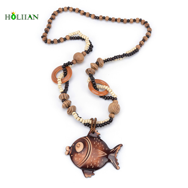 Best Sale Engraved Fish Animals Wooden For Women Jewelry Pendant Long Chain Necklaces Wedding Party Gift Femme Mujer Ethnic Hot