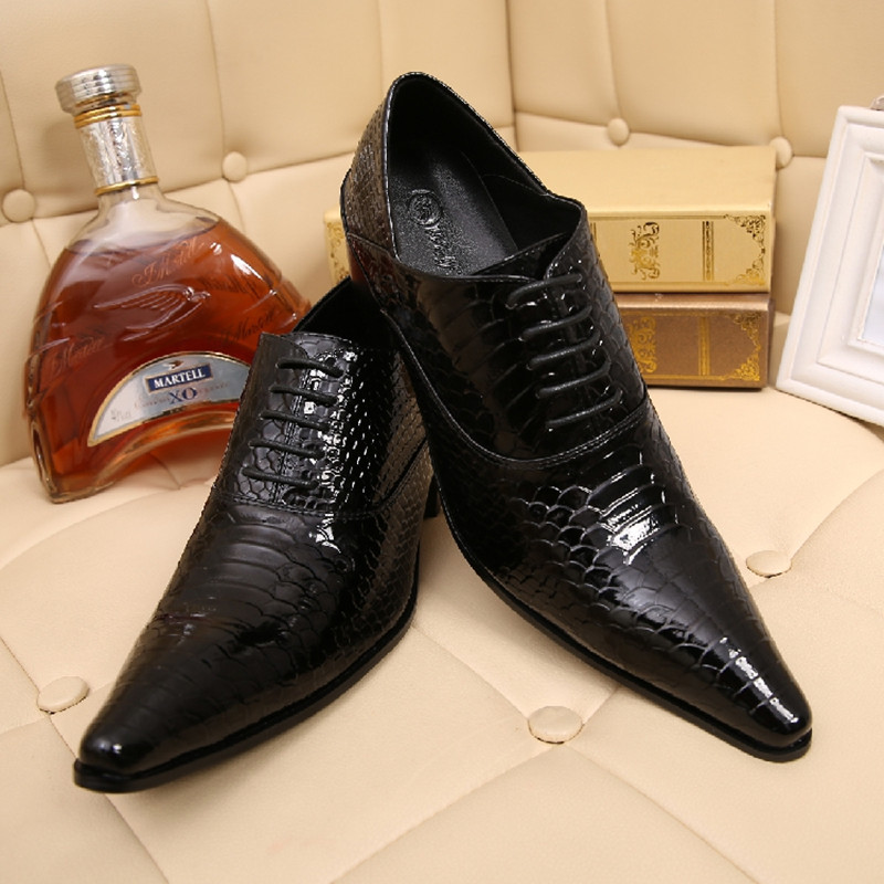 Chaussure Homme Alligator Shoes For Men Genuine Leather Mens Shoes High Heels Pointed Toe Classic Italian Shoes Brands Oxford classic style classic mens dress shoes deep coffee color genuine leather oxford shoes for men lace up pointy loafers high heels
