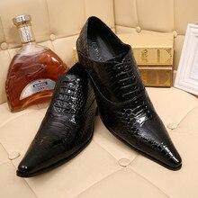 Chaussure Homme Крокодил Обувь Для Мужчин Натуральной Кожи Мужская Обувь На Высоких Каблуках Острым Носом Классическая Итальянская Обувь Марки Оксфорд