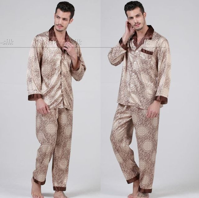 Mens Silk Satin Pajamas Set  Pajama Pyjamas PJS  Set  Sleepwear Loungewear  U.S.S  M  L XL 2XL 3XL Blue Brown