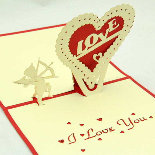 Cupid love pop up card /3D  kirigami card/ handmade greeting cards I love you valentine's day  Free shipping carousel horse pop up card 3d greeting card handmade kirigami card free shipping