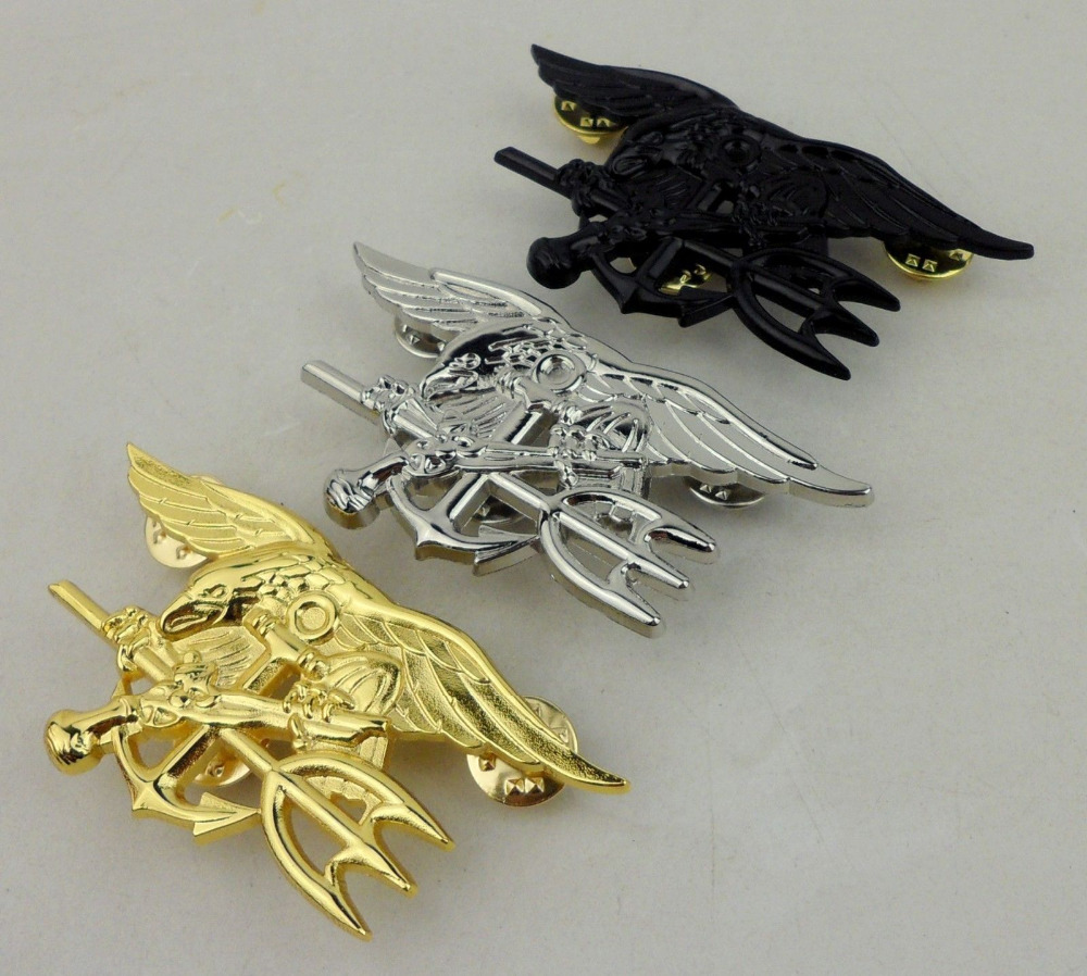 Three U.s. Navy Seals Badge Insignia - Us Navy Seal Trident Badge Special Force Selected Material