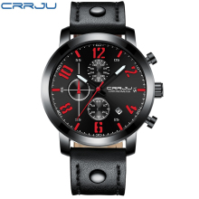 цена на CRRJU Army Military Quartz Mens Watches Top Brand Chronograph Luxury Leather Men Casual Sport Male Clock Watch Relogio Masculino