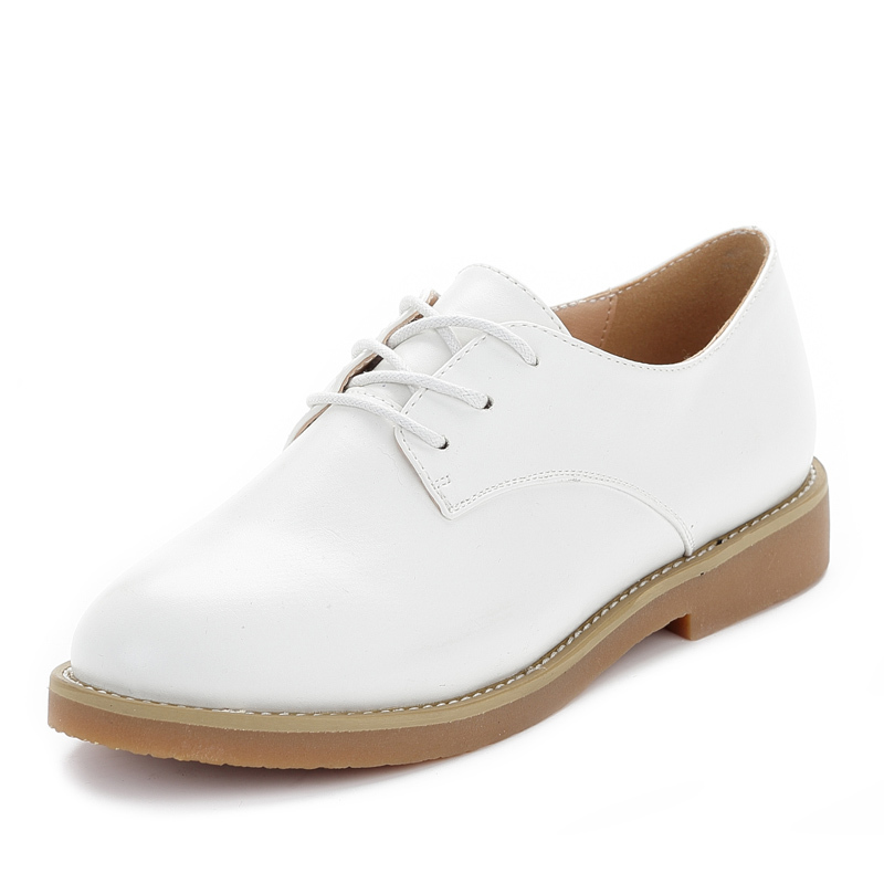 Genuine Leather Oxford Shoes For Women Smart Vintage Casual Lace Up