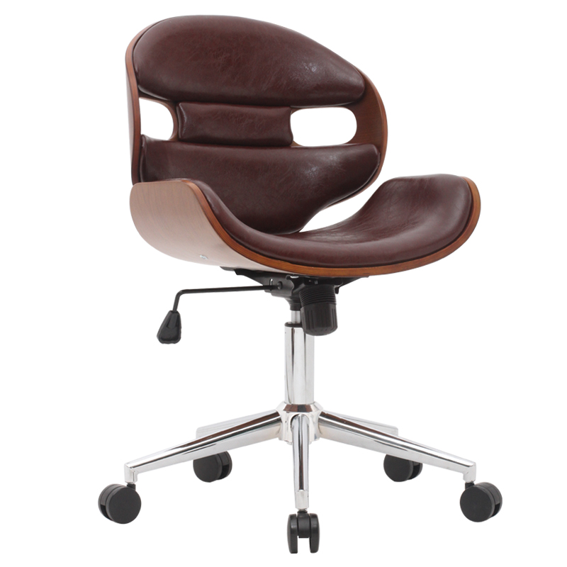 modern u0026amp office chair 360 swivel wood conference chair in leather seat and back - Ergonomic Desk Chair