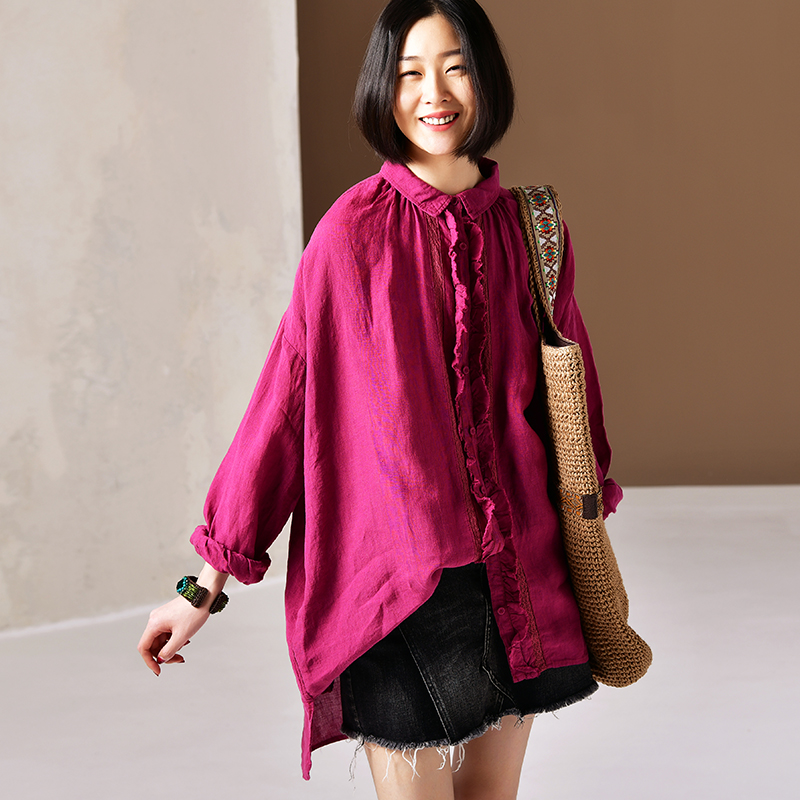 C6180 Literary large size small lapel lace loose show thin cotton and linen long shirt