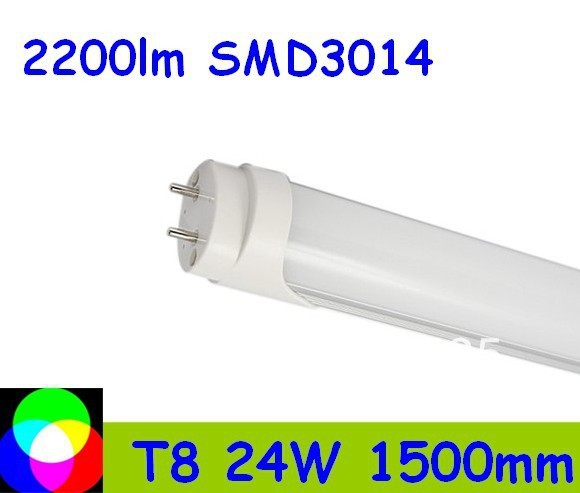 100pcs 24W 1500mm 5 feet T8 LED Tube Light  SMD3014 Warm White/Cool White  PC Cover Fedex Free shipping 100pcs