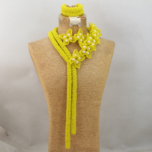 African Yellow Beads Wedding Jewelry Set Flower Statement Necklace Earrings Set Lady Events Jewelry Set Free Shipping WD662 free shipping wedding lady perfume personalized guestbook gb030