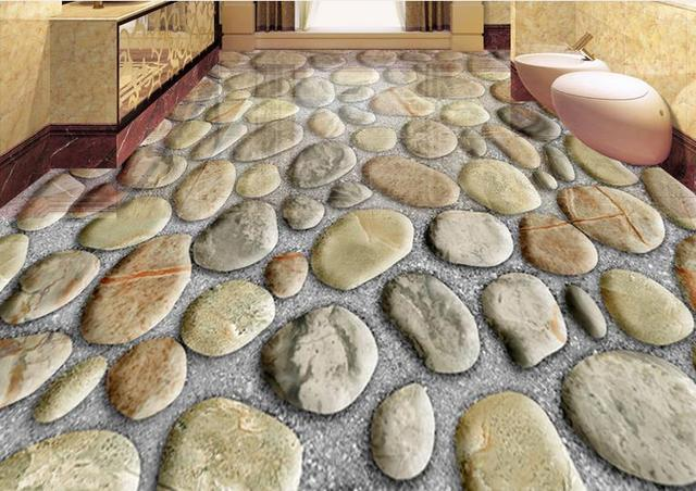 3d flooring wallpaper custom pvc self adhesive wallpaper cobblestone