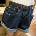 2016 New Arrivals Women Fashion Solid Denim Shorts High Waist Loose Shorts Wide Leg Plus Size Lady Sexy Shorts No Belt D991