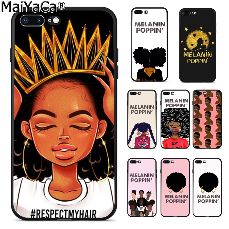 MaiYaCa MELANIN POPPIN Black Gir Luxury Fashion Phone Case for Apple iPhone 8 7 6 6S Plus X 5 5S