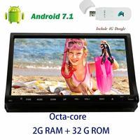 4G dongle + Android 7.1 Sürgülü Eincar Kapasitif Dokunmatik Car Stereo DVD player dash Çift din GPS Navigasyon Octa-çekirdekli