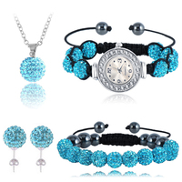 Four Piece Shamballa Set Shamballa Bracelet Earring Necaklce Pendant Watch Sets 10mm Disco Balls Shamballa Beads