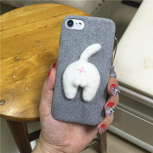 Corgi case handmake igły filcu wełnianego słodkie cat dog tyłek tyłek pokrywa dla apple iphone 6 6s plus iphone 7 7 p miękkie telefon komórkowy case 23