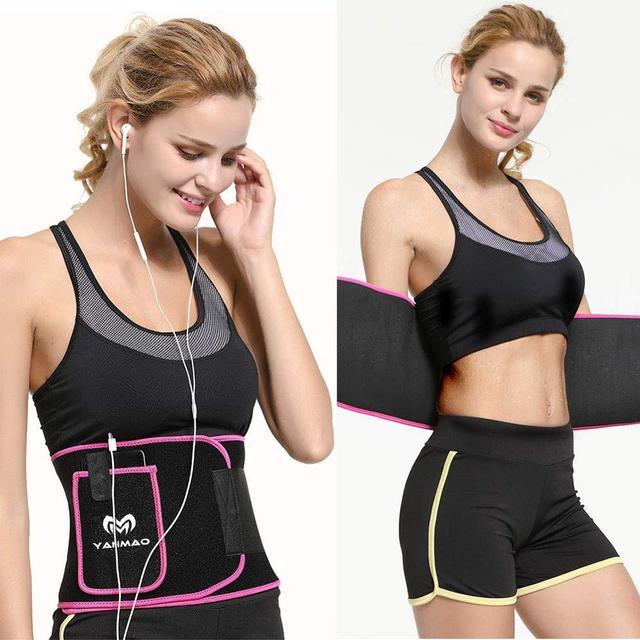 Sport Sweat Belt with Phone Pocket Tummy Stomach Lumbar Sweat Wrap Waist Trimmer Trainer Girdle Slimming Body Shaper Belt