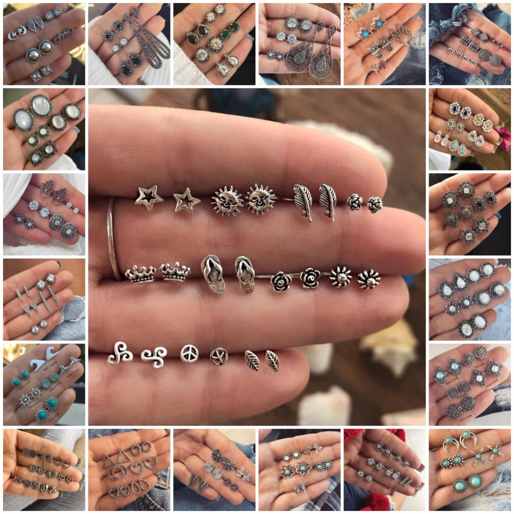 Vintage Round Crystal Stud Earrings Set For Women 2020 Brincos Statement Antique Silver Color Earrings Fashion Party Jewelry