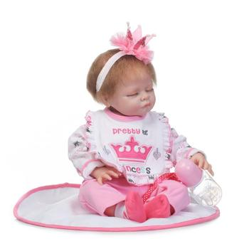 Nicery 20-22inch 50-55cm Bebe Reborn Doll Soft Silicone Boy Girl Toy Reborn Baby Doll Gift for Children Pink Princess Baby Doll
