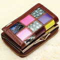 2016 New Multifunction Women's Wallets Bag Punk Short Design Patchwork Cowhide Wallet Multilayer Coin Purse Business Card Holder