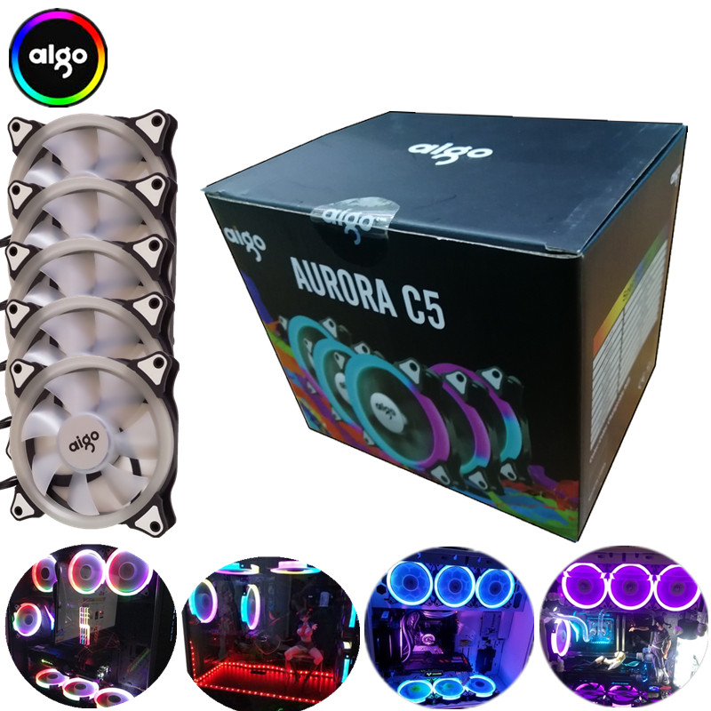 Aigo aurora C5 rainbow lights Colorful RGB Adjustable Colour Fan 120mm LED PC Computer Cooling Cooler Silent Case Fan controller