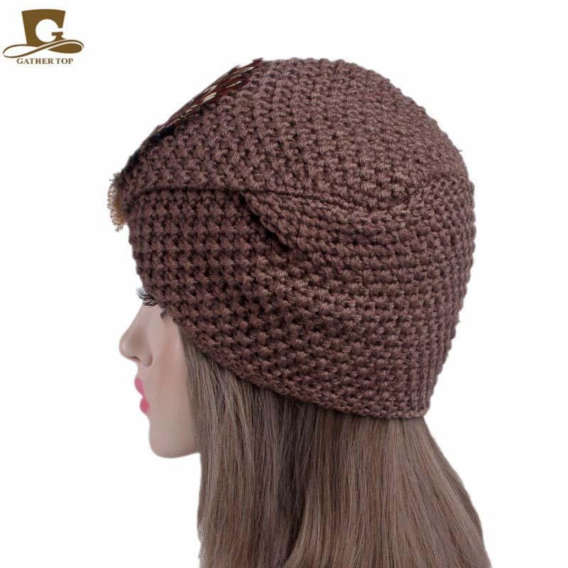 Nuove donne noble knit turbante beanie cap piuma costume Arabo ... 2ccf63b2428c