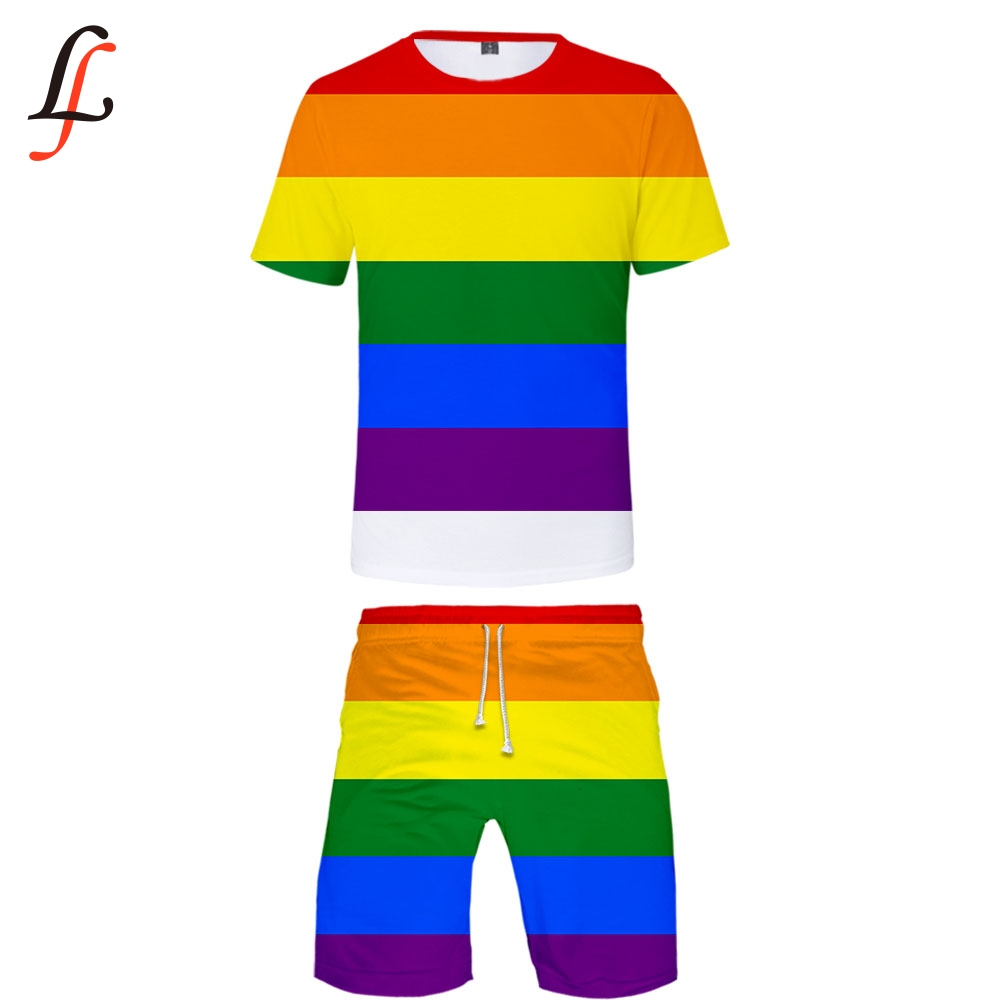 LGBT 3D Print 2019 New Casual Cool Man 2 Set Summer Popular Hip Hop Fashion High Street T-shirt Shirt+Short Pants Sets