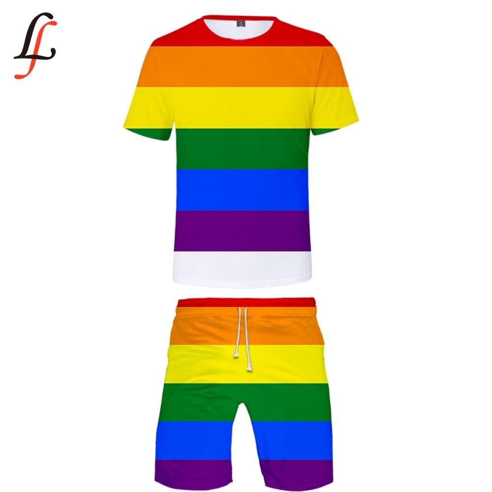 LGBT 3D Print 2019 New Casual Cool Man 2 Set Summer Popular Hip Hop Fashion High Street T-shirt Shirt+Short Pants Sets