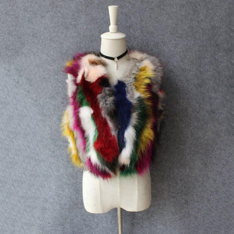 Sans Réel Manches Wasitcoat Colorful Printemps Coloré De Veste Femme Raton Outwear Courte Fourrure Laveur Automne Nouveau 2018 Gilet Naturel Mode 1vn41BA7