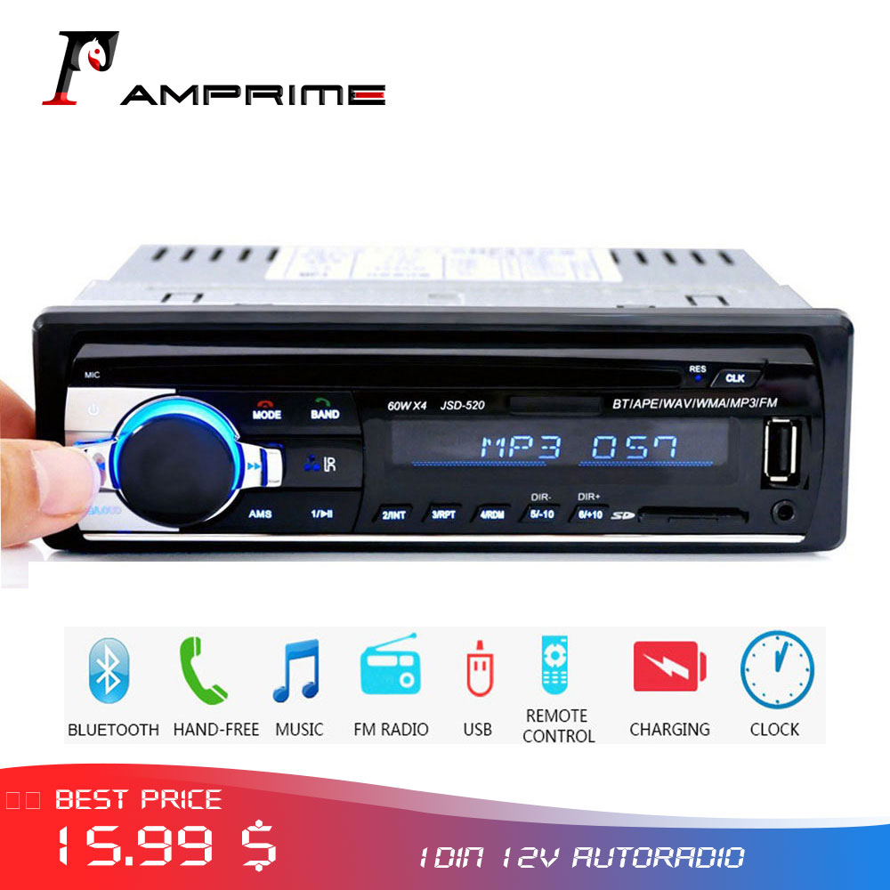 AMPrime 12V 1Din Car Radios Stereo Bluetooth Remote Control Charger phone USB/SD Audio MP3 Player 1 DIN In-Dash Car Audioradio image