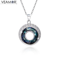 Veamor Real silver 925 blue cricle necklaces pendants for women crystals from Australia necklace girls fashion jewelry