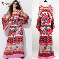 High Quality Plus Size Woman Autumn Dress O Neck Full Sleeve Print Clothes Loose Vintage Empire Long Dress Floor Length