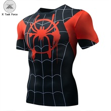 Raglan Sleeve Spiderman 3D Printed T shirts Men Compression Shirts 2019 New Short Comics Cosplay Costume Cloth Tops Male