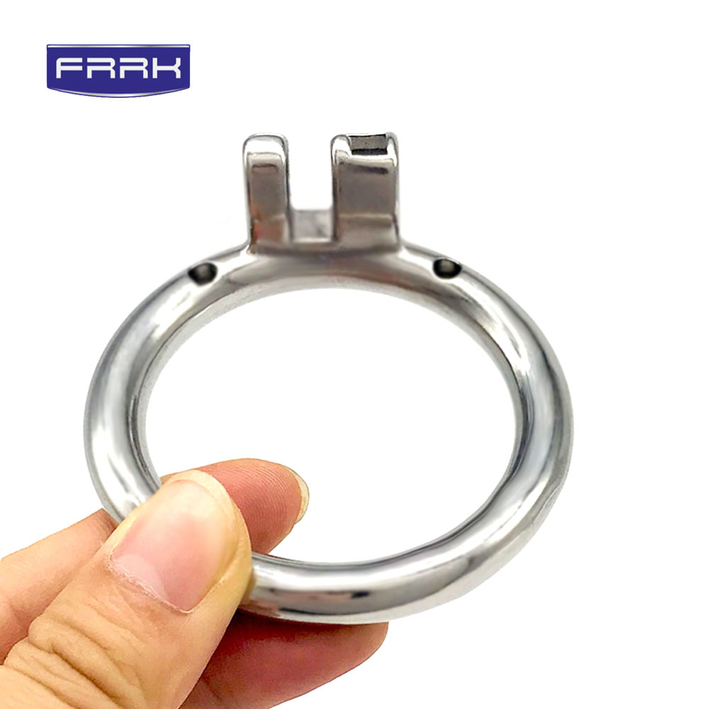 FRRK 304 Stainless Steel metal chastity  lock cage Penis Ring Metal cock ring steel penis Sex Toys For Men 40/45/50m