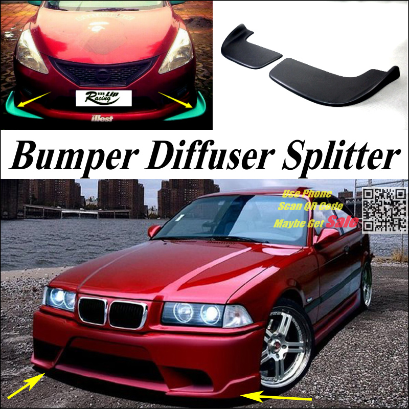 PU Splitter Diffuser Bumper Canard Lip Tuning Body Kit Front Deflectors US store