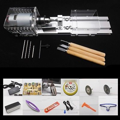 100W Multifunction DIY Wood Lathe Mini Lathe Cutting Machine Table Saw Polisher For Polishing Cutting Woodworking