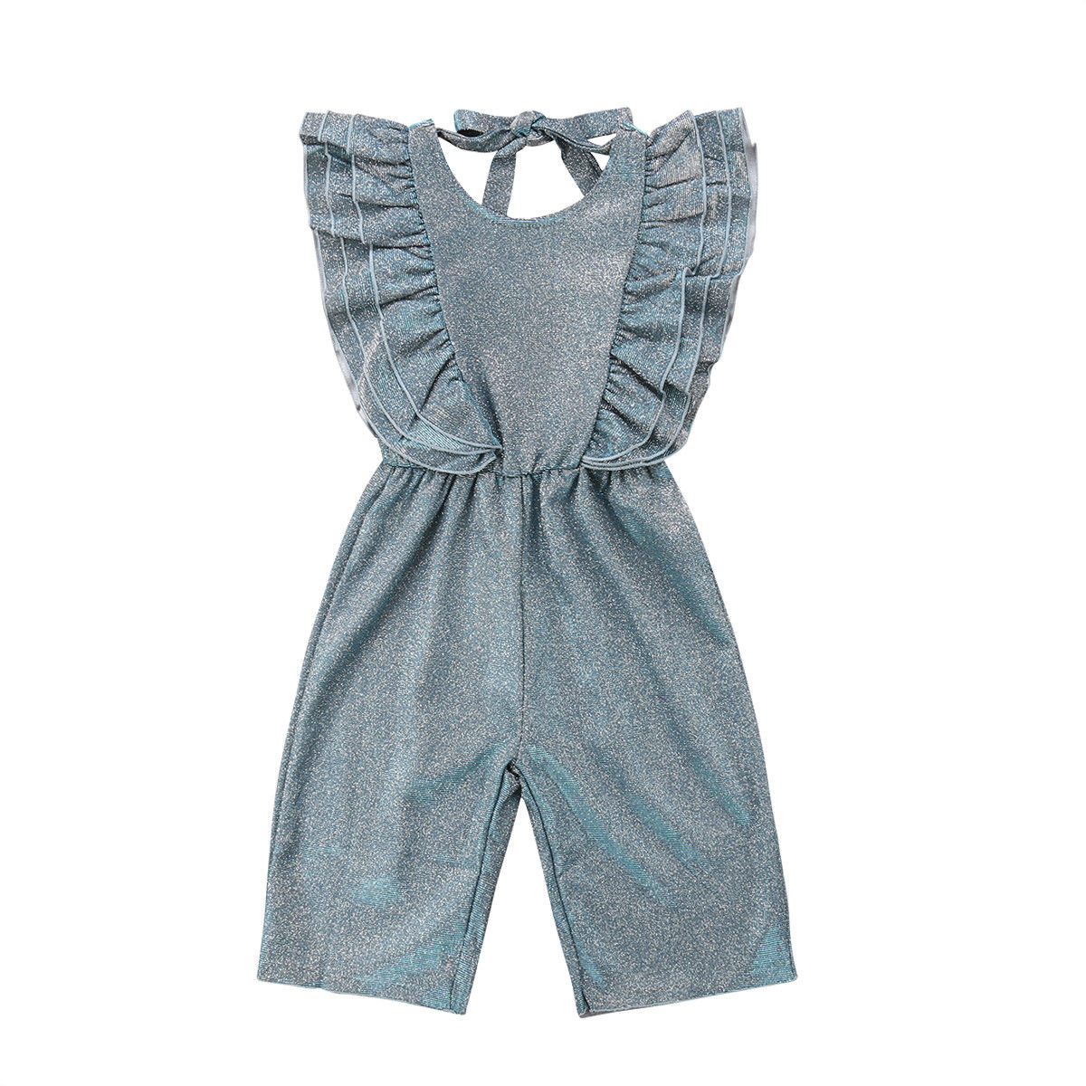 Baby Girl Kids Casual Ruffle Sleeveless Sequin Romper Jumpsuit Summer One Piece Clothes
