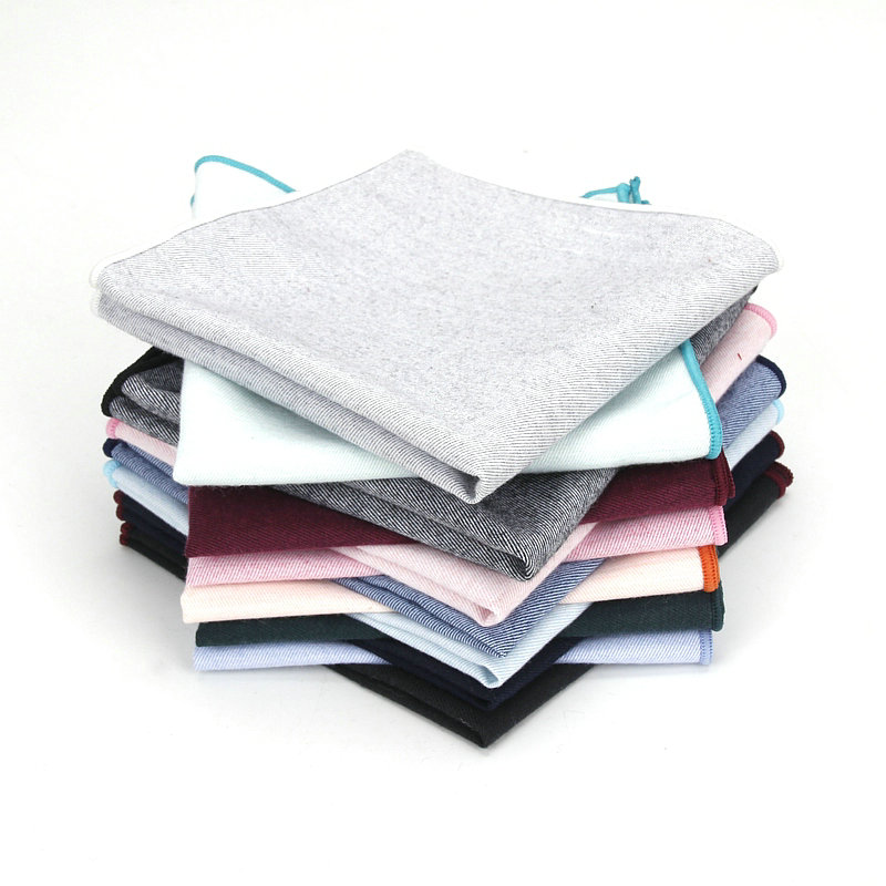 2019 Brand New Men Cotton Pocket Square Solid Color Black Pink Blue Handkerchief Chest Towel Wedding Party Suit Hankies 25*25CM