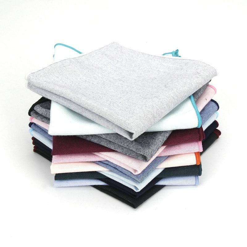 2019 Brand New Men Cotton Pocket Square Solid Color Black Pink Blue Handkerchief Chest Towel Wedding Party Suit Hankies 25*25CM