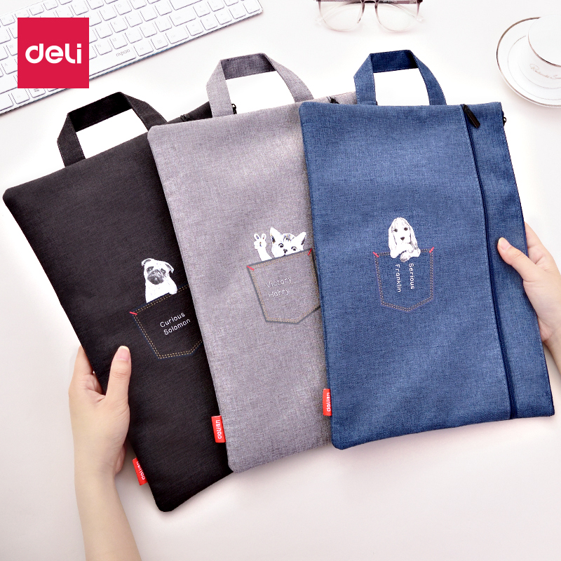 DELI File Folder Student Study Kit Kawaii Cartoon Double Layer Document Bag Portable Laptop Bags Office School Filing Products