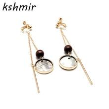 Original hand made Natural black butterfly bei long wooden bead geometry asymmetry earrings ear clip ladies fashion