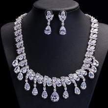 Hot! Kropla wody zestaw biżuterii ślubnej s zestaw biżuterii kryształowej pełna cz kwiat zestaw biżuterii ślubnej luksusowa biżuteria zestawy tanie tanio Miedzi Kobiety Cyrkonia Naszyjnik kolczyki Zestawy biżuterii Moda Klasyczny Zaręczyny CZ Diamond Woman Bridal Wedding Jewelery Sets