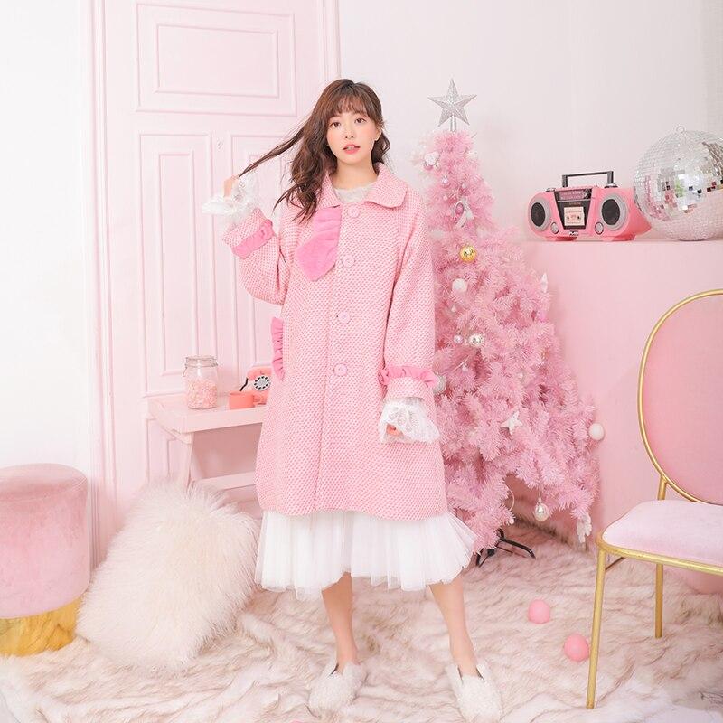 Un Lotus Col Manteau Japonais Sweet Poche Doux Plaid Princesse Rose Noeud Vc243 Laine type Lolita D'hiver Poupée De Feuille Arc wq687f4g