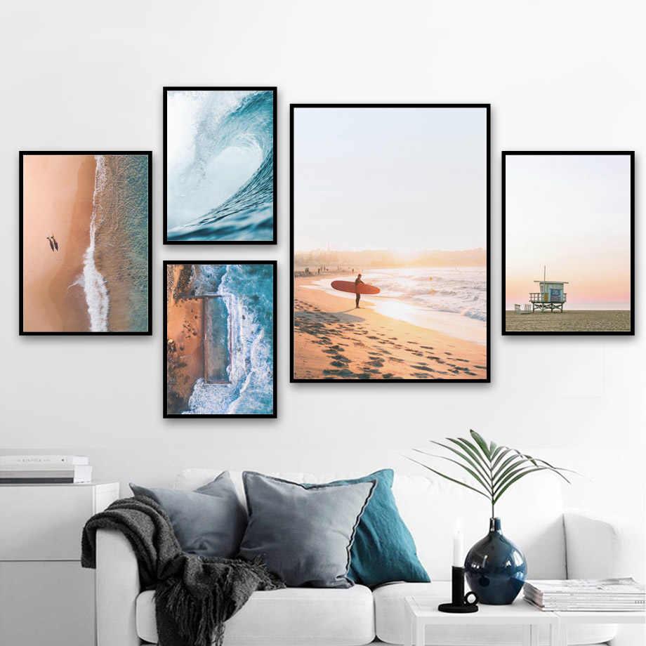 Spiaggia del mare Onda Ragazza Tavola Da Surf di Paesaggio di Arte Della Parete della Tela di Canapa Pittura Nordic Poster E Stampe di Immagini A Parete Per Living Room Decor