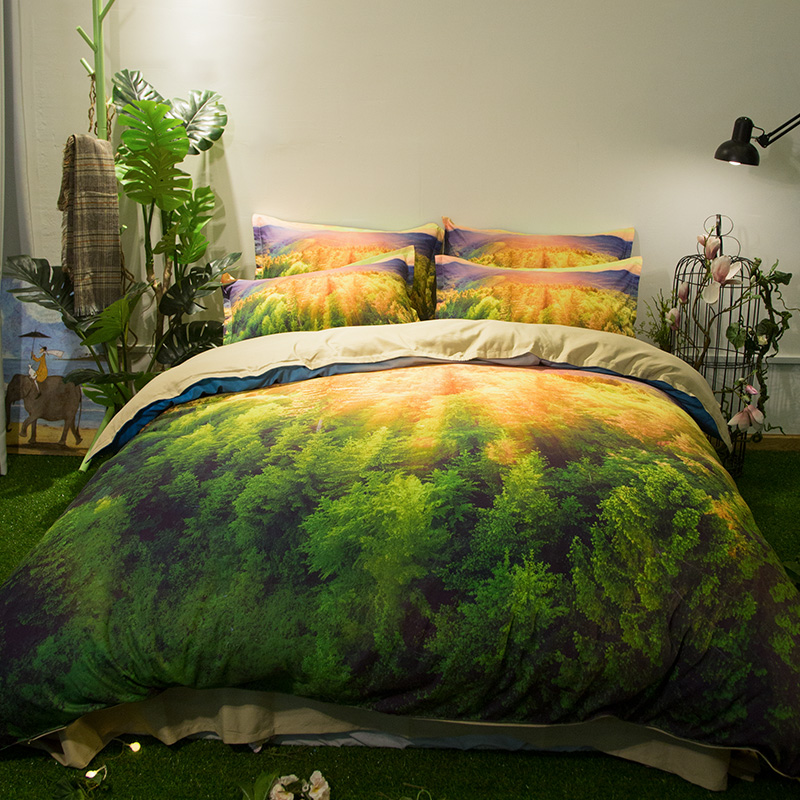 3D Scenery Mountain Green Forest Bedding Set Twin Queen