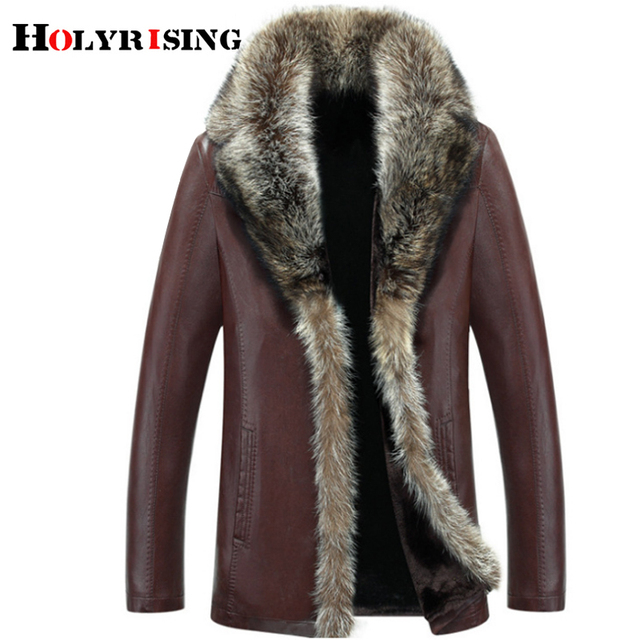 Holyrising 5XL Size Winter Thicken Faux Leather Casual Men's Jackets Fur Coat chaqueta cuero hombre jaqueta couro masculi 18524