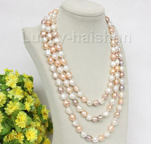 "natural 80"" 8-9mm baroque white pink purple pearls necklace"