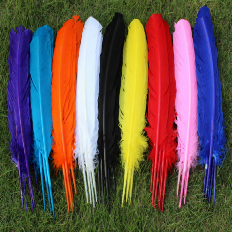500pcs wholesale 25 30cm Mixed color color real natural turkey feathers plumes hair extensions goose feather