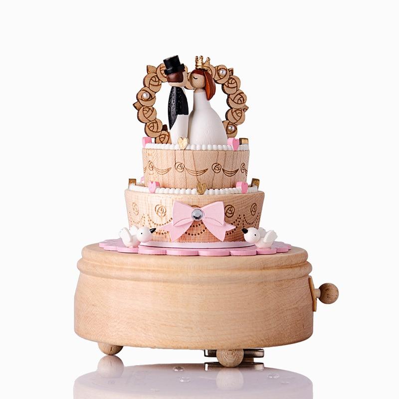 Gâteau de mariage boîte à musique en bois rotatif cadeau de mariage boîte à musique mécanique carrousel Musical chevaux boîte à musique de noël