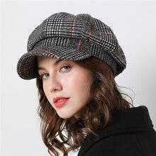 Женская Бейсболка для зимы, женские хлопковые шапки, клетчатые винтажные модные Восьмиугольные повседневные boina осень, новые Брендовые женские кепки