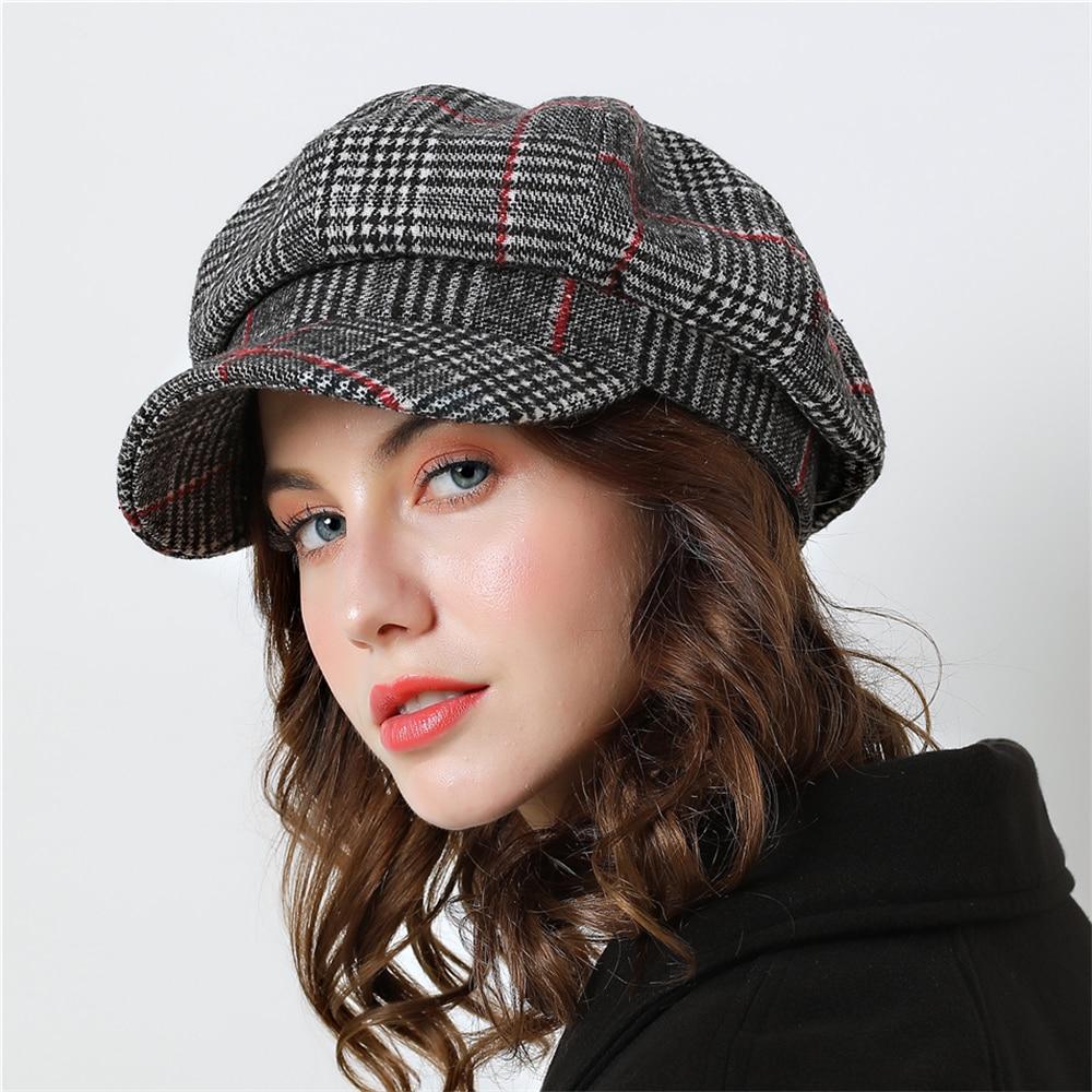 Women Baseball cap For Winter Female Cotton Hats Plaid Vintage Fashion  Octagonal Casual boina Autumn 2018 Brand New Women s Caps 85fed7eb0