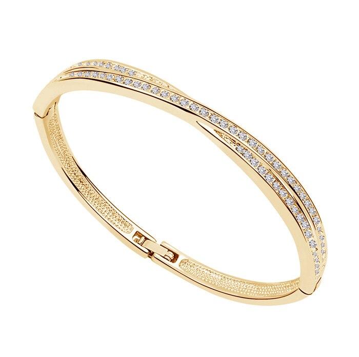 AAAA + brazalete de círculo de diamantes de imitación X brazalete de joyería de moda Envío Directo gratuito amuletos para mujeres lindo amor romántico regalo de calidad Enfashion brazalete básico Manchette brazalete de acero inoxidable de color dorado para mujer y hombre brazaletes pulseras Pulseiras